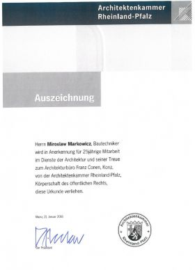 Auszeichnung: 25 Jahre im Dienste der Architektur